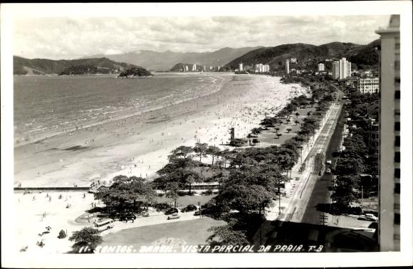 Ak Santos Brasilien, Vista Parcial da Praia, Teilansicht des Strandes