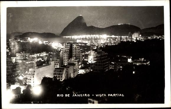 Ak Rio de Janeiro Brasilien,, Teilansicht bei Nacht