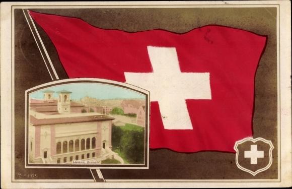 Wappen Passepartout Ak Lausanne Kt. Waadt Schweiz, Universität, Flagge
