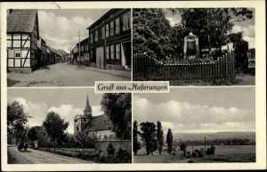 Ak Haferungen Werther Thüringen, Straße, Kriegerdenkmal, Kirche, Panorama