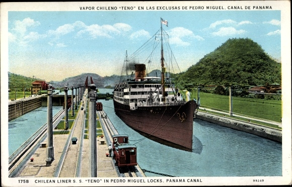 Ak Panama Canal, SS Teno, Chilean Liners, Pedro Miguel Locks