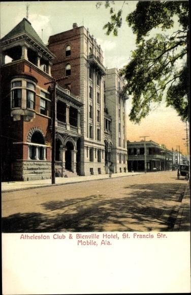 Ak Mobile Alabama USA, Atheleston Club, Bienville Hotel, St. Francis Street