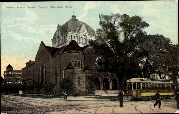 Judaika Ak Cleveland Ohio USA, Wilson Avenue, Jewish Temple, Synagoge, Straßenbahn