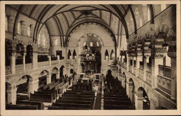 Judaika Ak Groningen Niederlande, Innenansicht der Synagoge