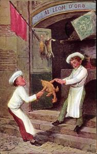 Künstler Ak Al Leon d'Oro, Köche streiten sich um ein Hähnchen