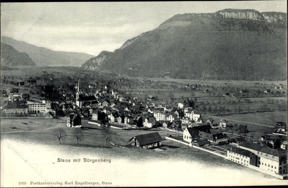 Ak Stans Kt. Nidwalden Schweiz, Panorama mit Bürgenberg