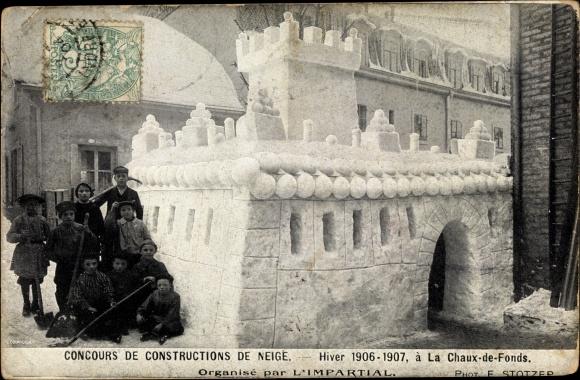 Ak La Chaux de Fonds Kt. Neuenburg Schweiz, Concours de Constructions de Neige, Hiver 1906