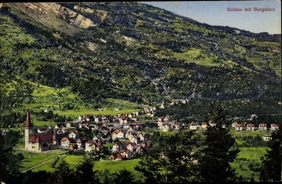 Ak Goldau Arth Kt. Schwyz Schweiz, Panorama vom Ort und Bergsturz