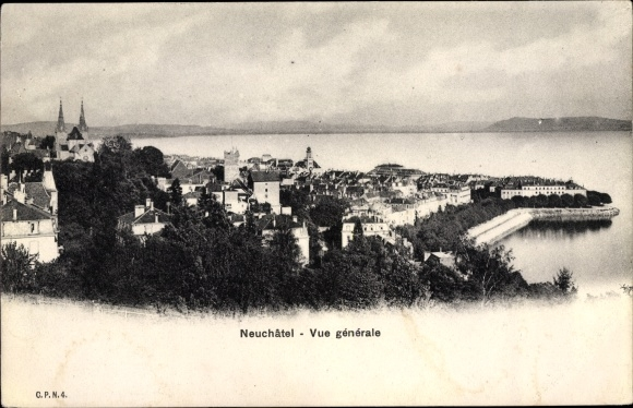 Ak Neuchâtel Neuenburg Stadt, Vue générale