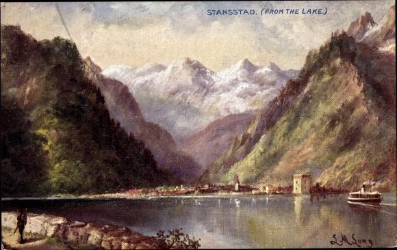 Künstler Ak Stansstad Kt. Nidwalden Schweiz, Blick auf den See, Panorama