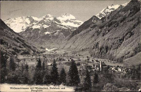 Ak Wolfenschiessen Kt. Nidwalden Schweiz, Panorama mit Widderfeld, Hufstock und Hanghorn