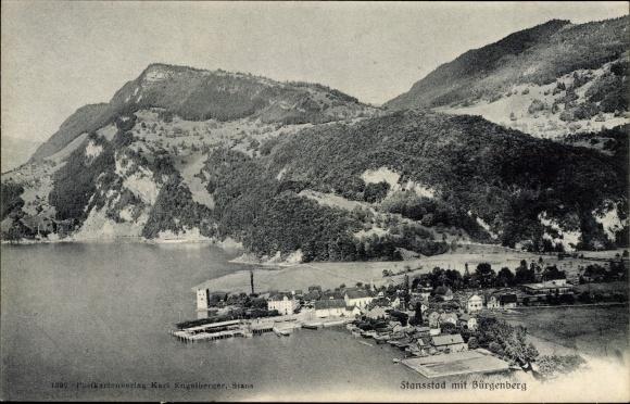 Ak Stansstad mit Bürgenberg Halbkanton Nidwalden, Panorama vom Ort