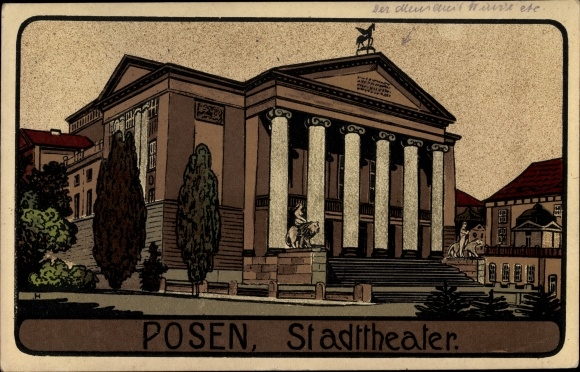 Steindruck Ak Poznań Posen, Stadttheater