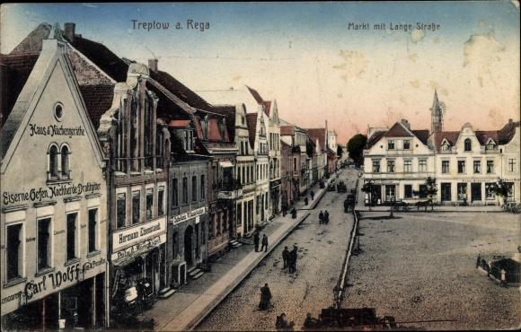 Ak Trzebiatów Treptow Rega Pommern, Markt, Lange Straße, Geschäft Carl Wolff, Hermann Eisenstaedt