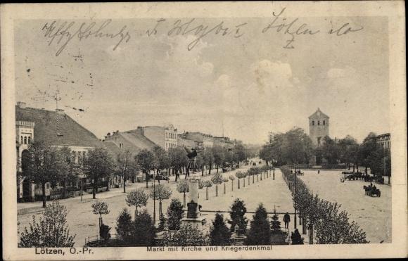 Ak Giżycko Lötzen Ostpreußen, Markt, Kirche, Kriegerdenkmal