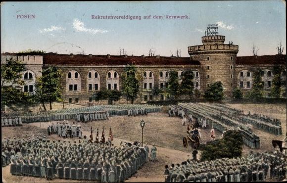 Ak Poznań Posen, Rekrutenvereidigung auf dem Kernwerk, 4. Landsturm Pionier Kompagnie