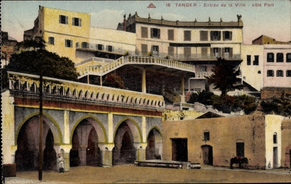Ak Tanger Marokko, Entree de la Ville, cote Port
