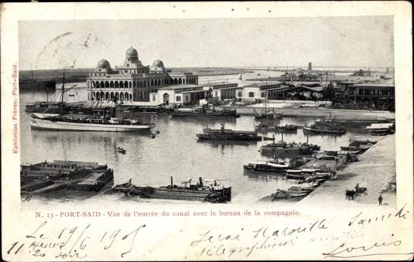 Ak Port Said Ägypten, Vue de l'entree du canal avec le bureau de la compagnie