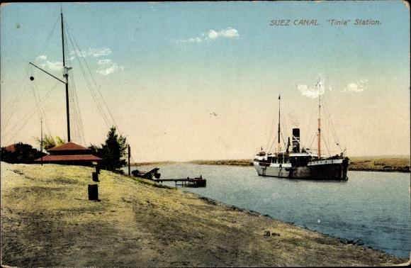 Ak Suez Ägypten, Suez Canal, Tinia Station, steam ship