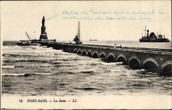 Ak Port Said Ägypten, La Jetee, Statue, steamer