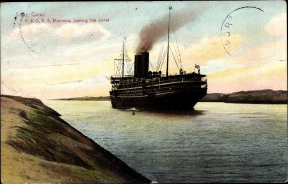 Ak Suez Ägypten, P. & O. S. S. Marmara, passing the Canal