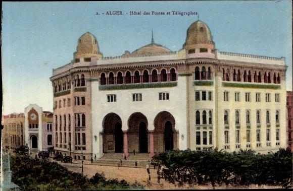 Ak Algier Alger Algerien, Hôtel des Postes et Télégraphes, vue générale