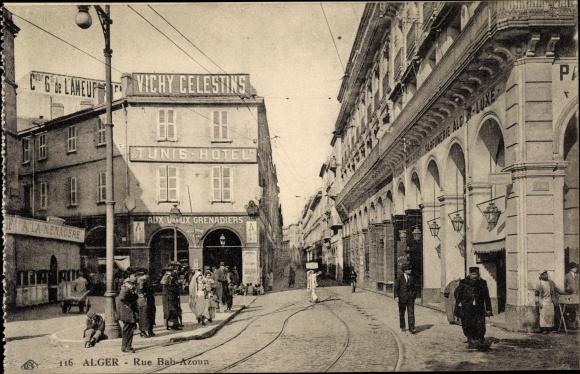 Ak Algier Alger Algerien, Bur Bab Azoun, piétons, Tunis Hotel, voies ferrées