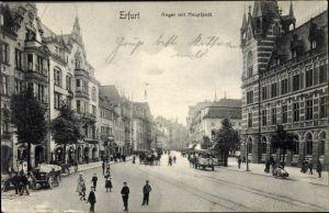 Ak Erfurt in Thüringen, Anger mit Hauptpost, Pferdewagen