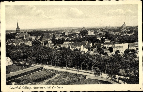 Ak Kołobrzeg Kolberg Pommern, Gesamtansicht der Stadt