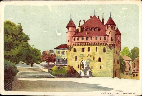Litho Lausanne Kt. Waadt Schweiz, Chateau