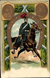 Präge Litho Reiter, Soldat, König Ludwig II. von Bayern, Kaiser Wilhelm II.
