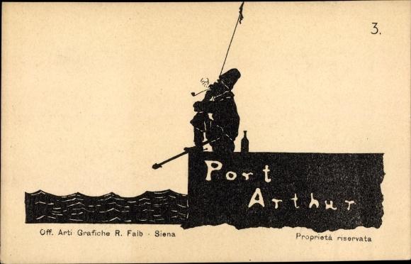 Scherenschnitt Ak Lüshunkou Port Arthur Dalian China, Russe, Russisch Japanischer Krieg, Nr 3