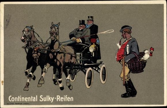 Steindruck Ak Continental Sulky Reifen, Reklame, Pferdekutsche