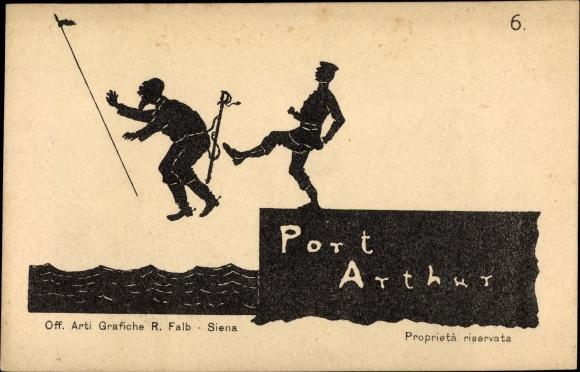 Scherenschnitt Ak Lüshunkou Port Arthur Dalian China, Tritt, Russisch japanischer Krieg, Nr 6