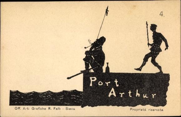 Scherenschnitt Ak Lüshunkou Port Arthur Dalian China, Tritt, Russisch japanischer Krieg, Nr 4