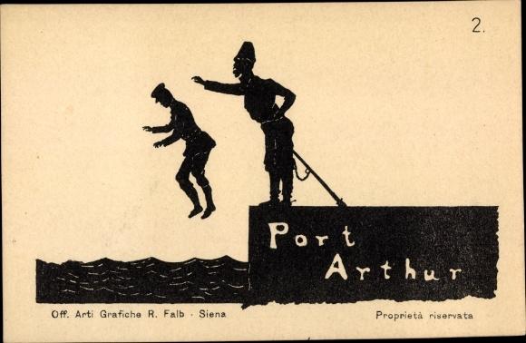Scherenschnitt Ak Lüshunkou Port Arthur Dalian China, Russisch japanischer Krieg, Nr 2