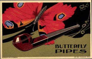 Steindruck Ak Butterfly Pipes, Reklame für Pfeifen, Schmetterling