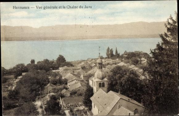Ak Hermance Kt. Genf Schweiz, Vue générale et la Chaîne du Jura