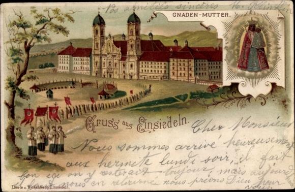 Litho Einsiedeln Kt. Schwyz Schweiz, Gnaden Mutter, Prozession