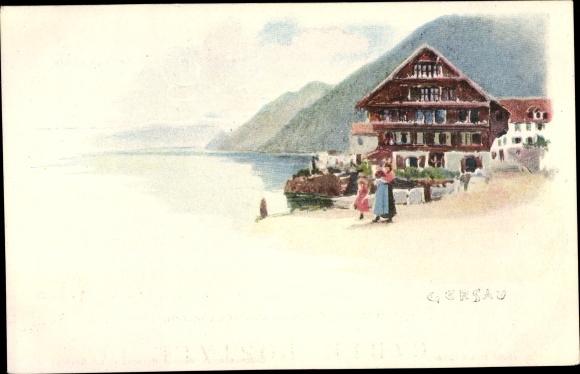 Ak Gersau Kt. Schwyz Schweiz, Partie am See