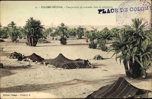 Ak Colomb Béchar Algerien, Campement de Nomades dans la Palmerale
