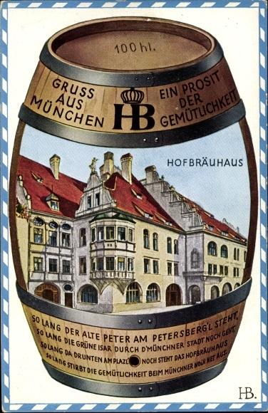 Künstler Ak Boettcher, Hans, München Bayern, Blick auf das Hofbräuhaus, Bierfass