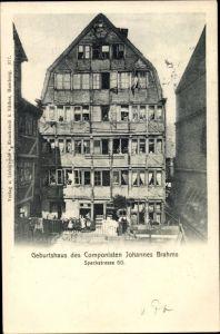 Ak Hamburg, Speckstraße 60, Geburtshaus Komponist Johannes Brahms