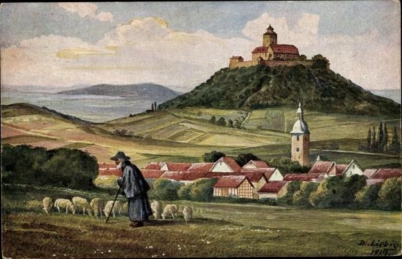 Künstler Ak Liebig, B., Holzhausen Amt Wachsenburg im Ilm Kreis, Ort mit Umgebung, Schäfer