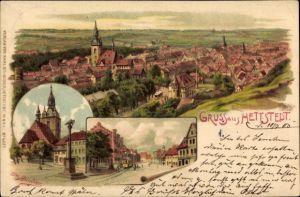 Künstler Litho Spindler, Erwin, Hettstedt im Harzvorland Sachsen Anhalt, Panoramablick auf die Stadt