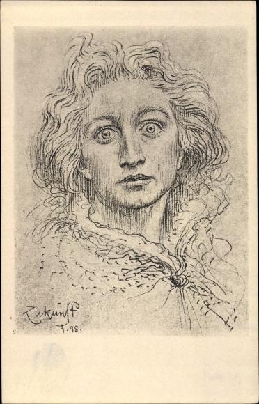 Künstler Ak Fidus, Zukunft, Frauenportrait, Allegorie