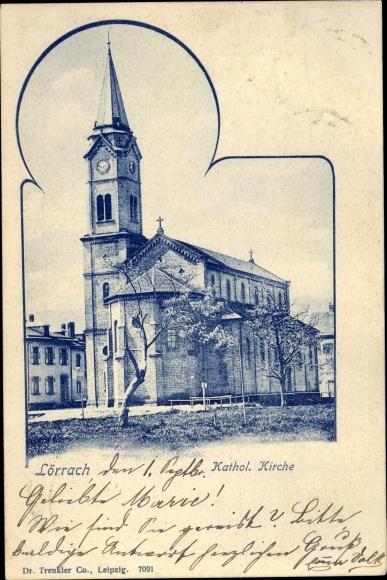 Ak Lörrach in Baden Württemberg, Katholische Kirche