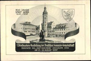Ganzsachen Ak Gera in Thüringen, 1. Briefmarkenausstellung der Deutschen Sammler Gemeinschaft 1937