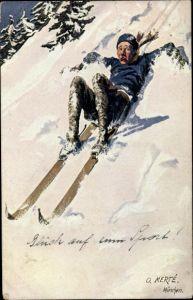Künstler Ak Merté, Oskar, Skifahrer rutscht die Piste hinunter