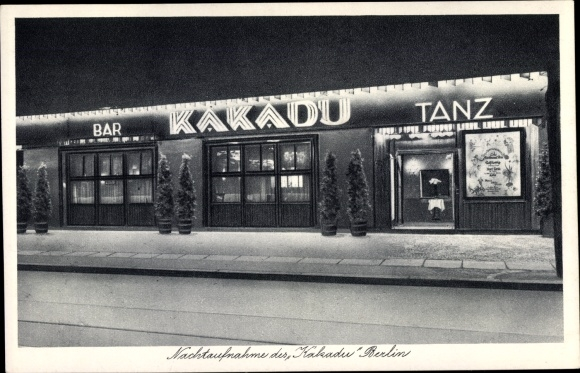 Ak Berlin Charlottenburg, Kakadu, Tanz Bar, Kabarett, Joachimsthaler Str 10, Nachtansicht